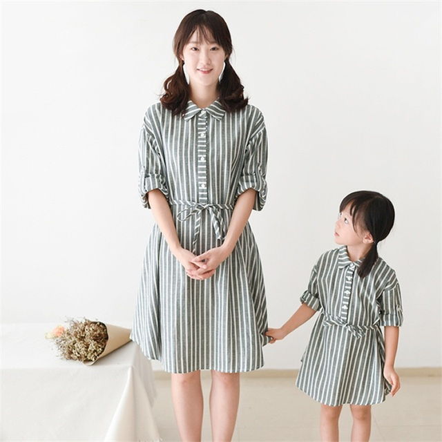 70eab344952 2017 brand long sleeves stripe belt cotton linen kids girl shirt dress  family matching clothes mother