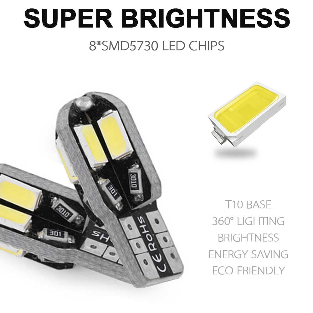 10 Pcs/Lot T10 Led Car Interior Bulb Canbus Error Free T10 White 5730 8SMD LED DC12V Car Side Wedge Light White/Warm White Lamp