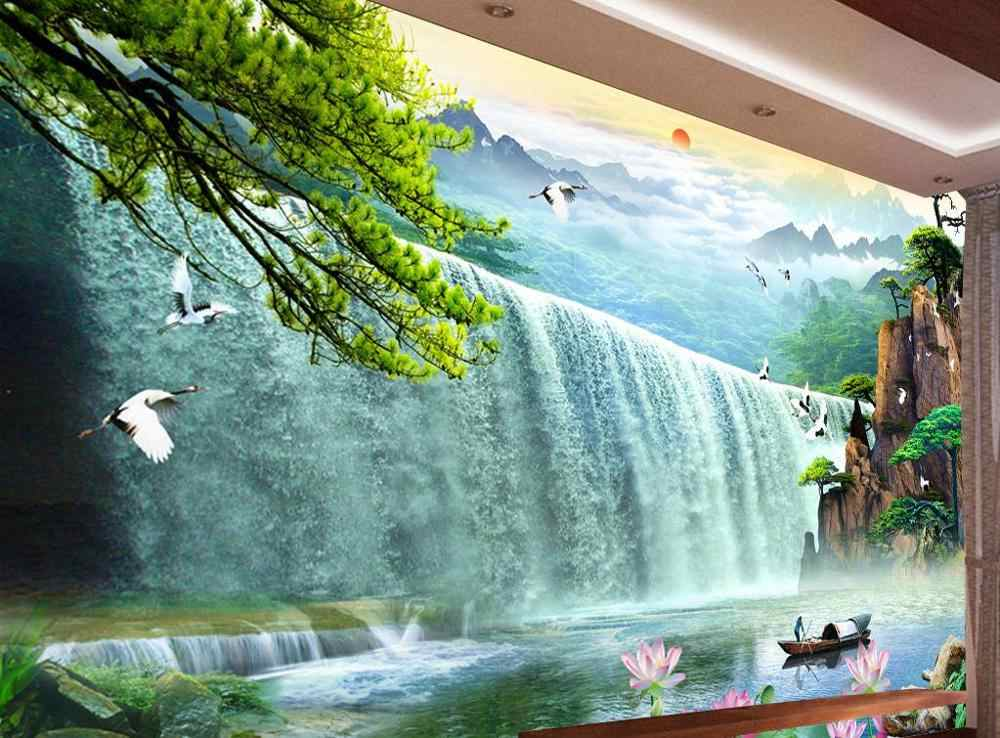 3d wallpaper customize Long stream waterfall TV sofa background wallpaers for living room bedroom home decor wallpaper