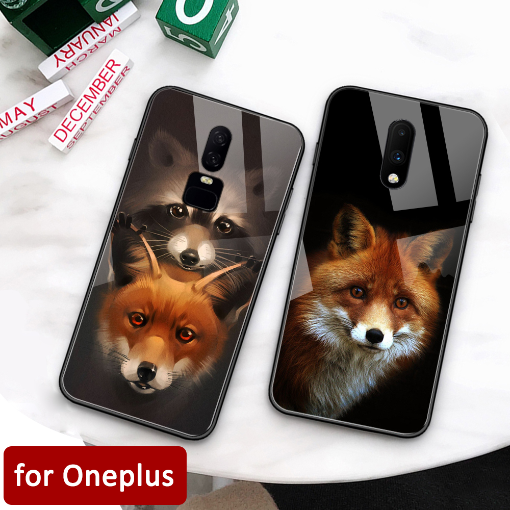 Oneplus 7pro Case Glass back cover fox cute Oneplus coque 5t case for Oneplus 1+ 5 5T 6 Oneplus 6 6t 7 pro