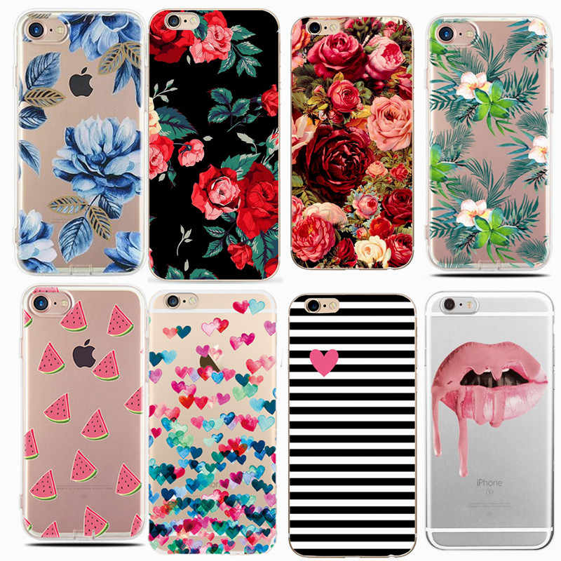 Case Of Flower On Print For Apple iPhone 5S 6 6S 7 8 Plus X XS XR Max Cases Luxury Marble For Coque Iphone 5 SE Soft Back Cover