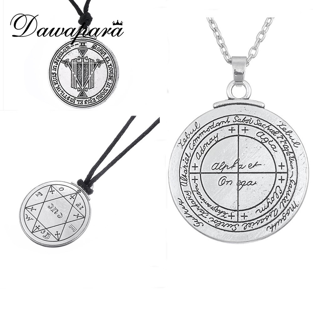 Dawapara Supernatural Talisman Good Luck үшін Pentacle Pendant Necklaces Pagan Wiccan Jewelry Vintage Amulet for Men