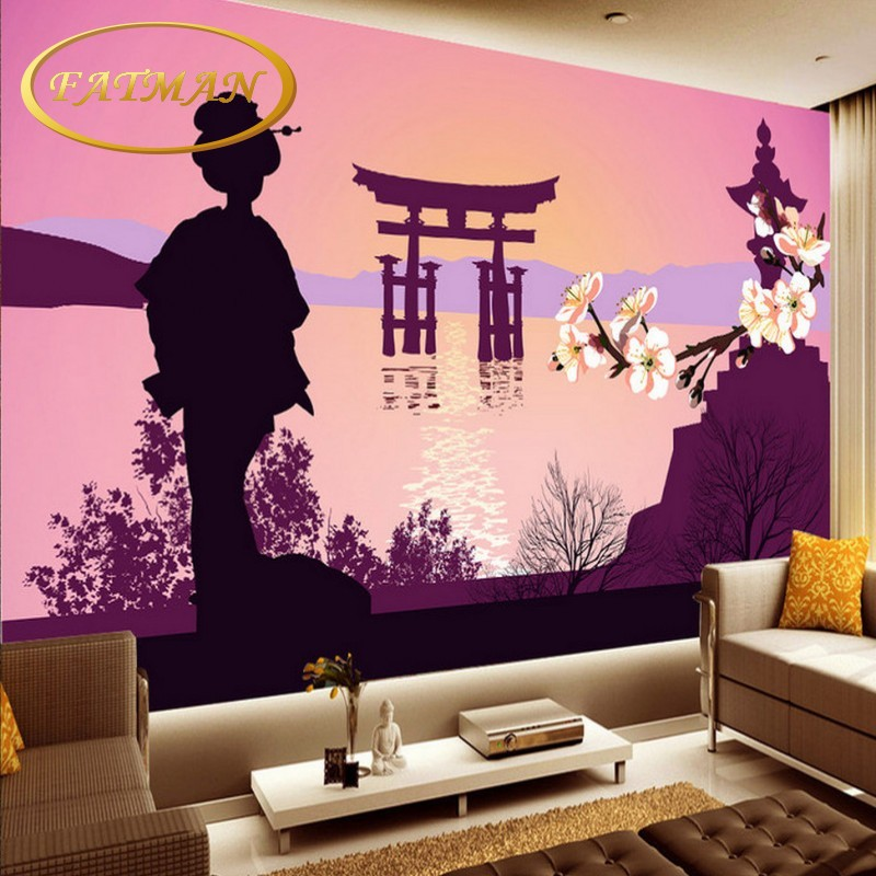 3d mural background Japanese Ukiyo shi Pilgrims Retro Nostalgic ...