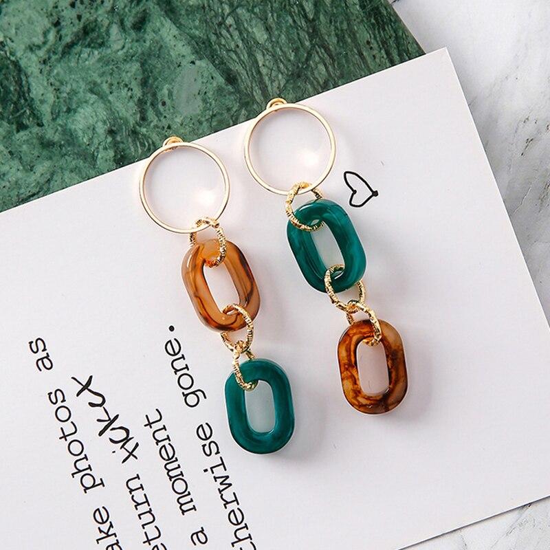 EVBEA Новый Дизайн Мода Для женщин ссылка Серьги весна новый зеленый коричневый Цвет акрил Серьги повелительница Серьги