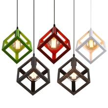 JEMMY HO Vintage Cube Pendant Lights Northern Europe Industrial Iron Lightings For Cafe & Bar Retro Edison Loft Pendant Lamps