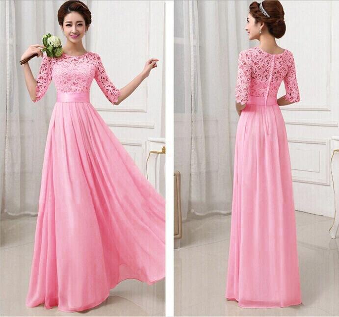 Vestido rosa largo de fiesta