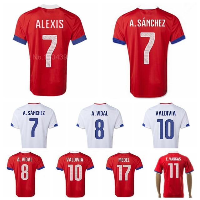 Chile Jerseys Soccer 7 Alexis Sanchez Football Shirt 8 Vidal 9 SUAZO 10  Valdivia 11 Vargas MEDEL Camisas de futebol Custom Name 32b2691bb