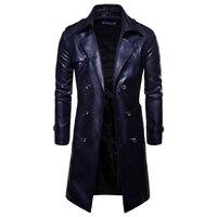 2019 Модный осенне-зимний мужской кожаный Тренч двубортный хип-хоп Уличный мотоциклетный кожаный пиджак ветровка пальто