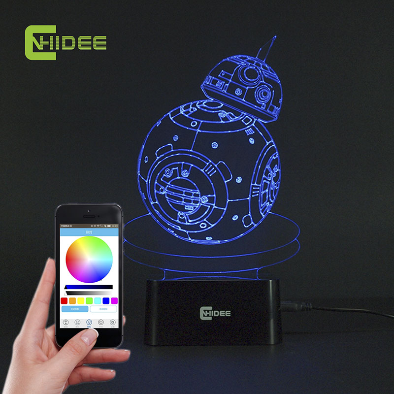 CNHIDEE Star Wars Light USB Novelty BB-8 Robot 3D LED Night Lamp Acrylic Colorful Bluetooth Music Lampara Novelty Lighting new bicycles 3d lights led 7 colorful remote control 3d lamp acrylic visual light novelty luminaria led night light