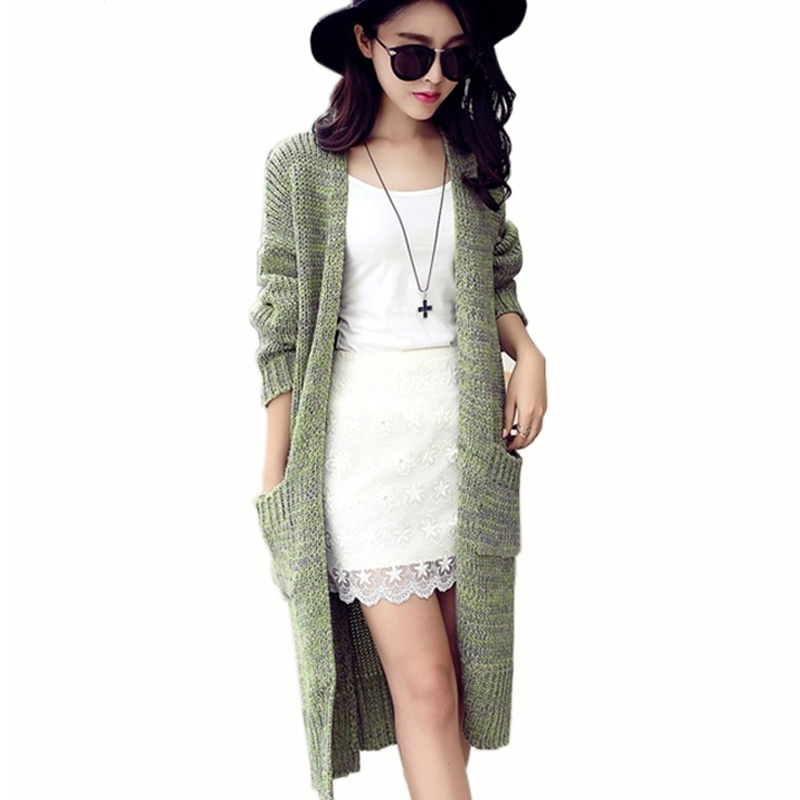 New Women Cardigan Knitted Sweater Coat Long Sleeve Crochet Female Casual V-Neck Cardigans Tops Elegant Pockets Cardigan