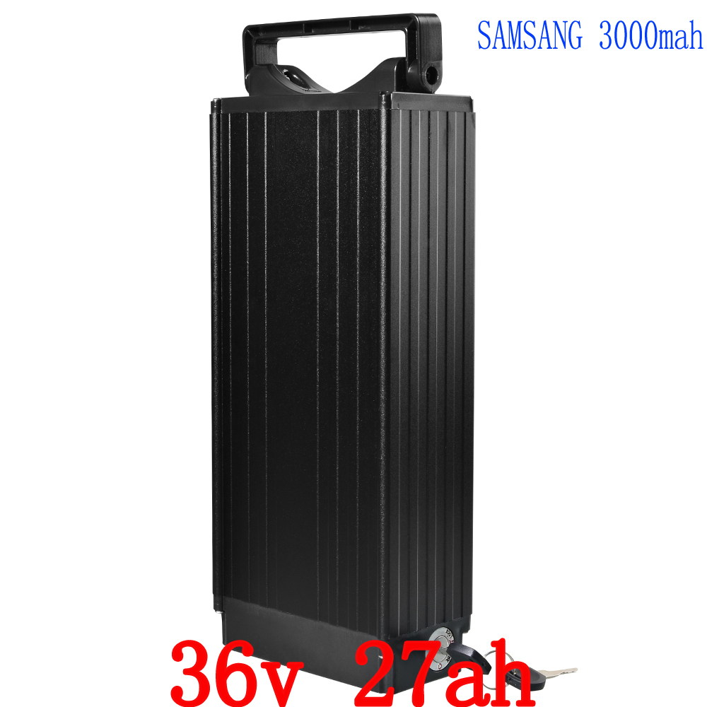 1000W 36V 27AH Rear rack battery 36V Bike lithium battery with tail light Use for samsung 3000mah cell 30A BMS 42V 2A charger free customs taxes super power 1000w 48v li ion battery pack with 30a bms 48v 15ah lithium battery pack for panasonic cell
