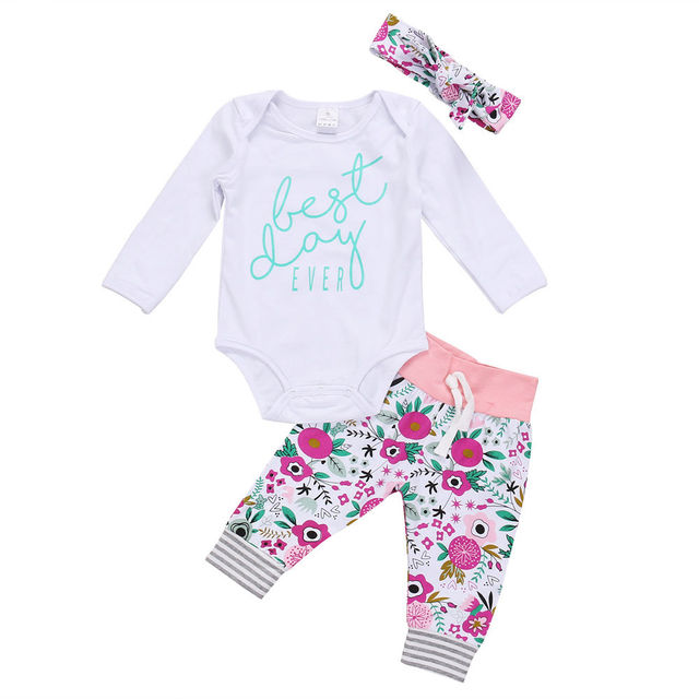 bed85abace4 3Pcs Adorable Newborn Baby Boy Girl Tops Romper + Floral Long Pants  Headband Outfits Set Clothes