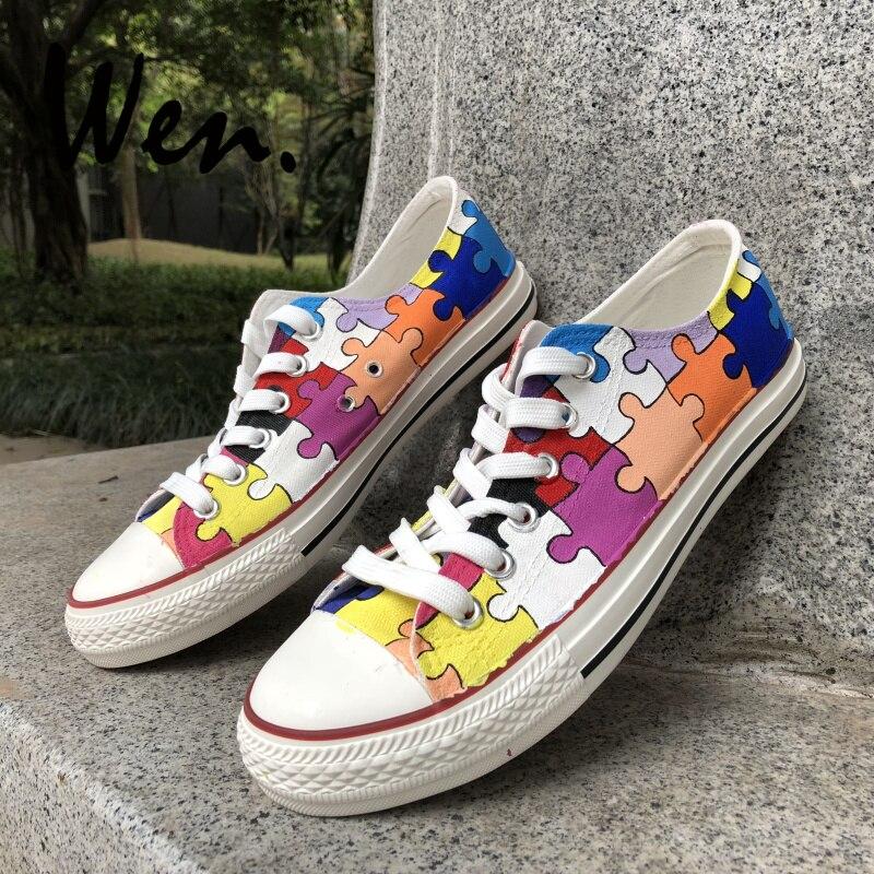 Вэнь ручная роспись повседневная обувь по индивидуальному дизайну красочные головоломки низкий верх парусиновая обувь мужские кроссовки на шнуровке женские платформы плимсоллы - 2