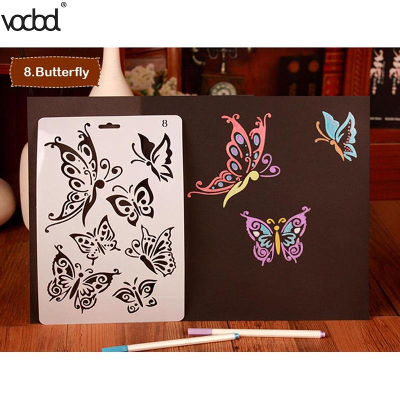 Beautiful Butterfly Theme Stencils For DIY Scrapbooking Plastic Ruler Photo Album Decor Hollow Template Drawing Painting Tools