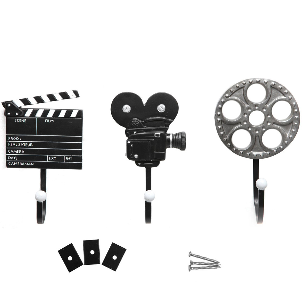 3 Pieces/Set Equipment Design Metal Storage Hooks Movie Music Maker Styles Resin Hooks Wall Mounted Film image