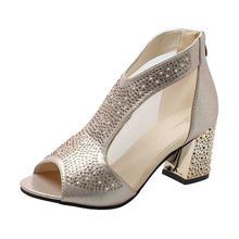 Womens Summer Thick High Heel Sandals Cute Crystal Open Peep Toe Casual Leisure Office OL Shoes