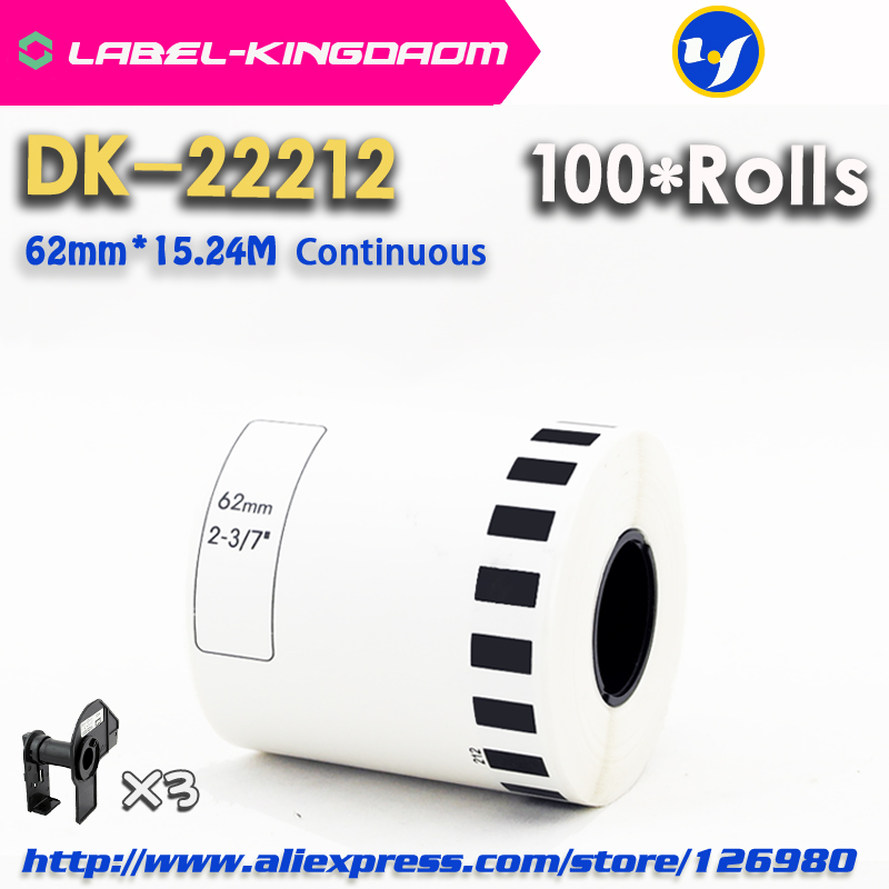 100 Refill Rolls Generic DK 22212 Label 62mm 15 24M Continuous Compatible for Brother Label Printer