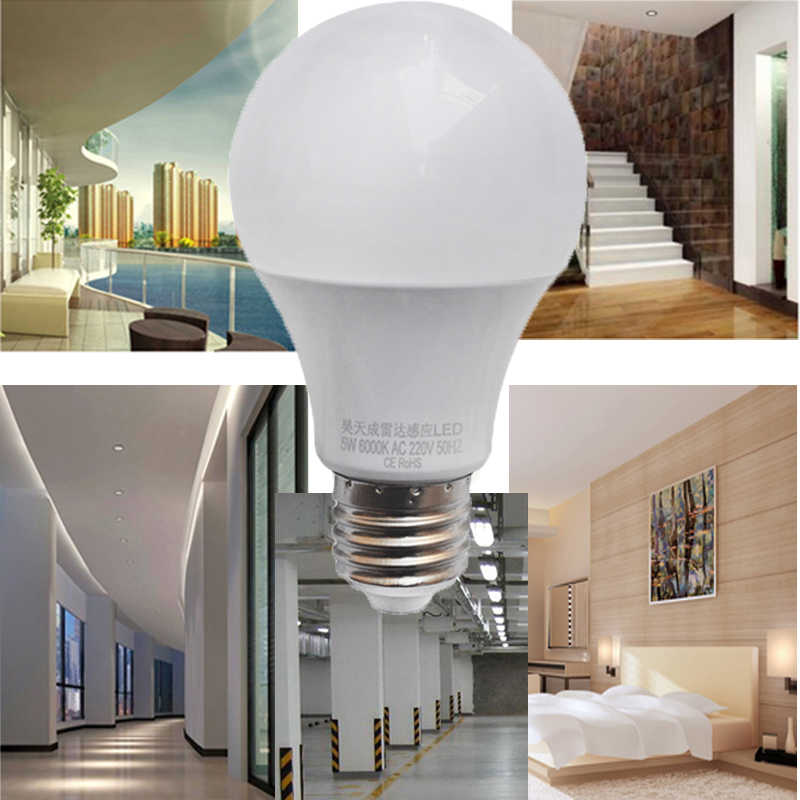 LED czujnik radarowy żarówka E27 automatyczne inteligentne wykrywanie Led podczerwieni ciała Lampada 9W 7W 5W 110V 220V 85-265V lampa z czujnikiem ruchu