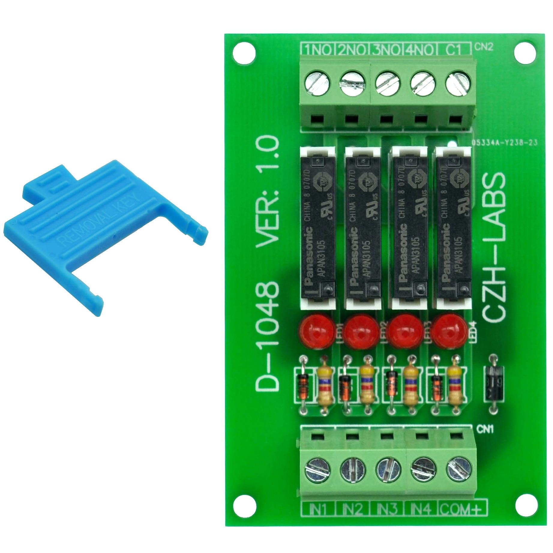 Slim Panel Mount DC5V Sink/NPN 4 SPST-NO 5A Power Relay Module, APAN3105
