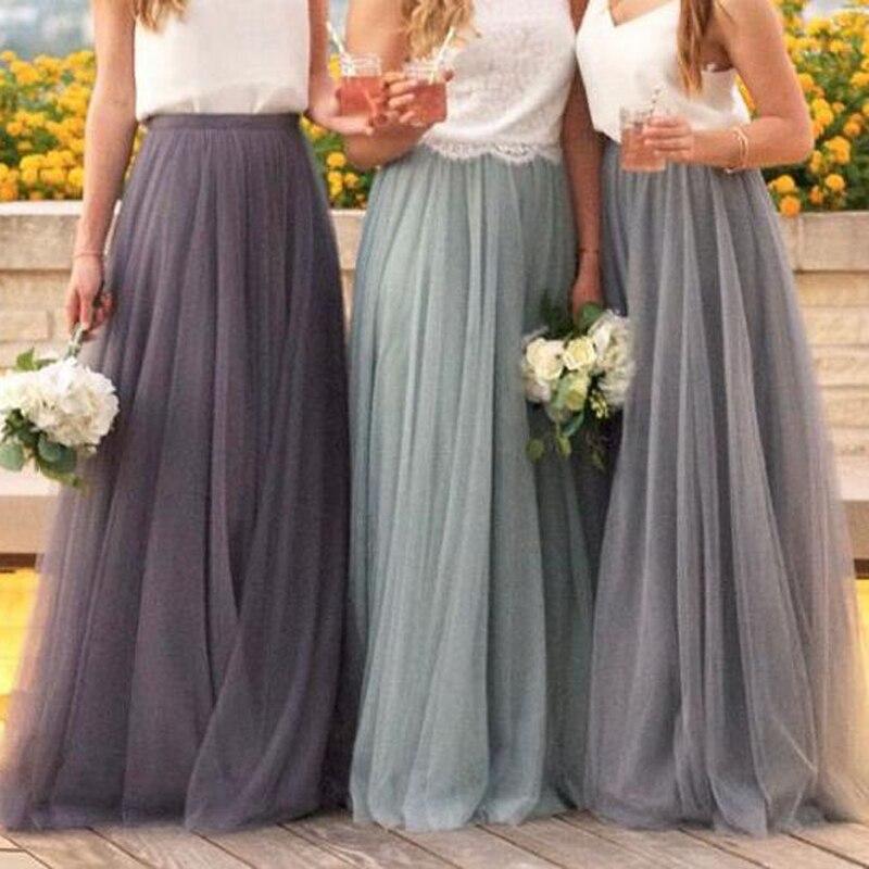 1fccc6d4a La mejor calidad 5 capas de falda larga de tul elegante gris menta verde  Boda nupcial dama de honor ...
