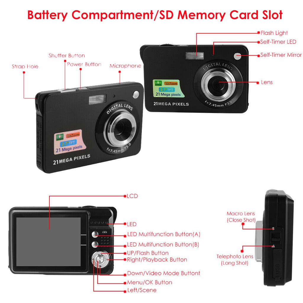 Digital Cameras 2019 2.7HD Screen Digital Camera 21MP Anti-Shake Face Detection Camcorder 8X digital zoom with Microphone c0612