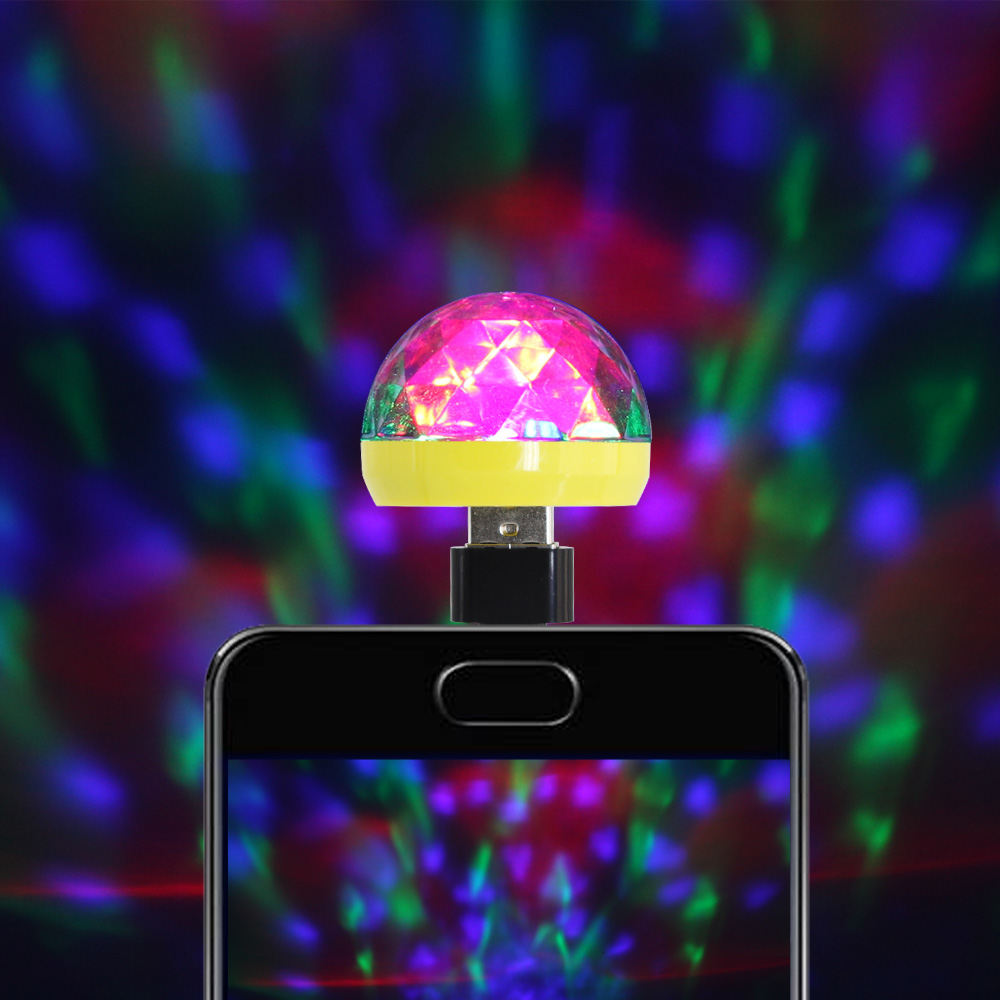 Micro USB Stage Light Disco Music Magic Ball Lamp Color Change Club Party Home Lighting Effect For Mobile Phone PC Power Bank