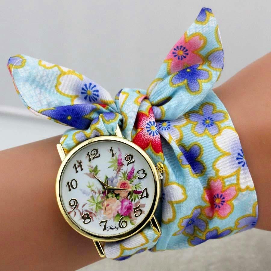 shsby dizains Sieviešu ziedu auduma rokas pulkstenis zelta modes - Sieviešu pulksteņi - Foto 5