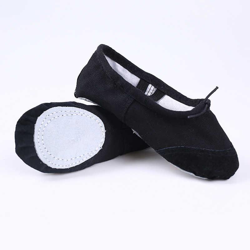 Professional บัลเล่ต์รองเท้าเด็กหญิงผ้าฝ้ายผ้าใบบัลเล่ต์เต้นรำรองเท้าสำหรับเด็กผู้หญิงยิมนาสติกโยคะเต้นรำรองเท้า