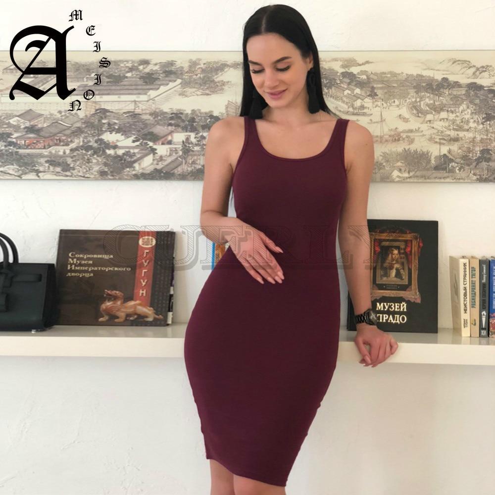 Ameision 2019 solide bref décontracté basique gilet robe femmes haute Stretch côtelé tricot robe d'été moulante crayon Midi robes de jour