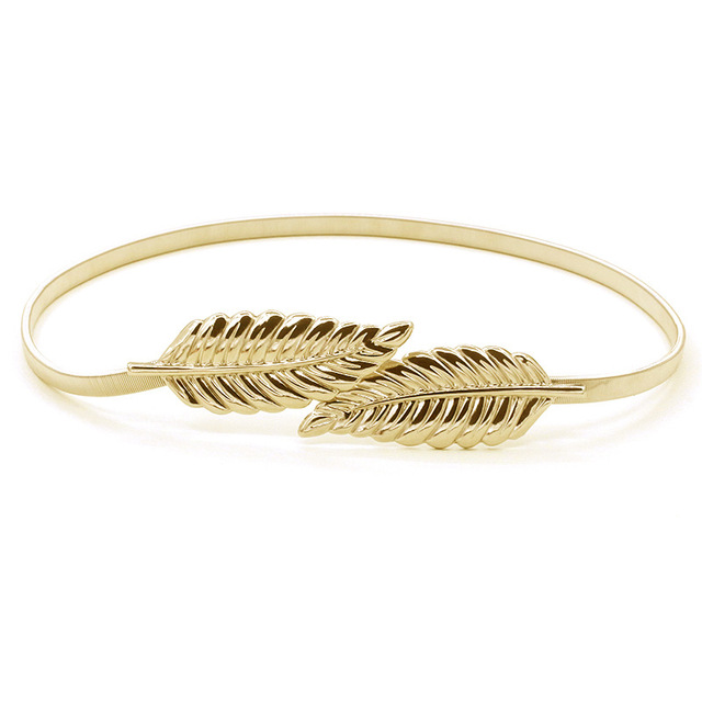 2016 New Womens Brand Luxury Fashion Stretchy Thin  Rope Leaf Gold Silver Belts Length 74cm Wholesale Purchasing