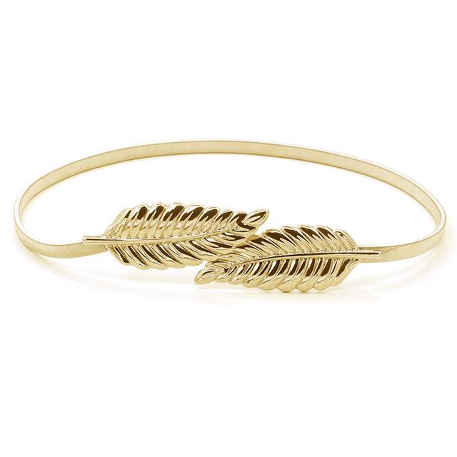 2016 Nuevas Mujeres de la Marca de Moda de Lujo Elástico Cuerda Fina Hoja de Oro Plata Cinturones Longitud 74 cm Compra Al Por Mayor