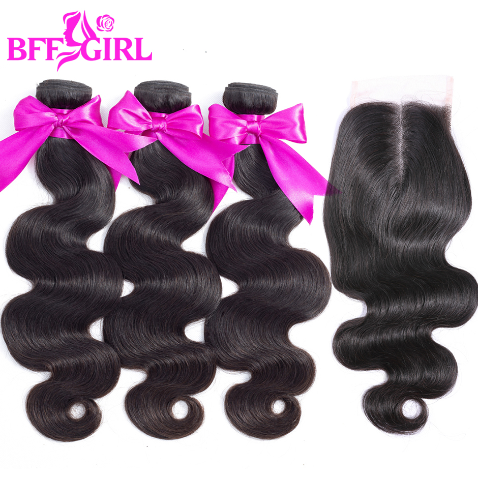 BFF GIRL Indian Body Wave Hair Bundles With Closure 3 or 4 Bundles Non Remy Human Hair Bundles With Closure Free Shipping