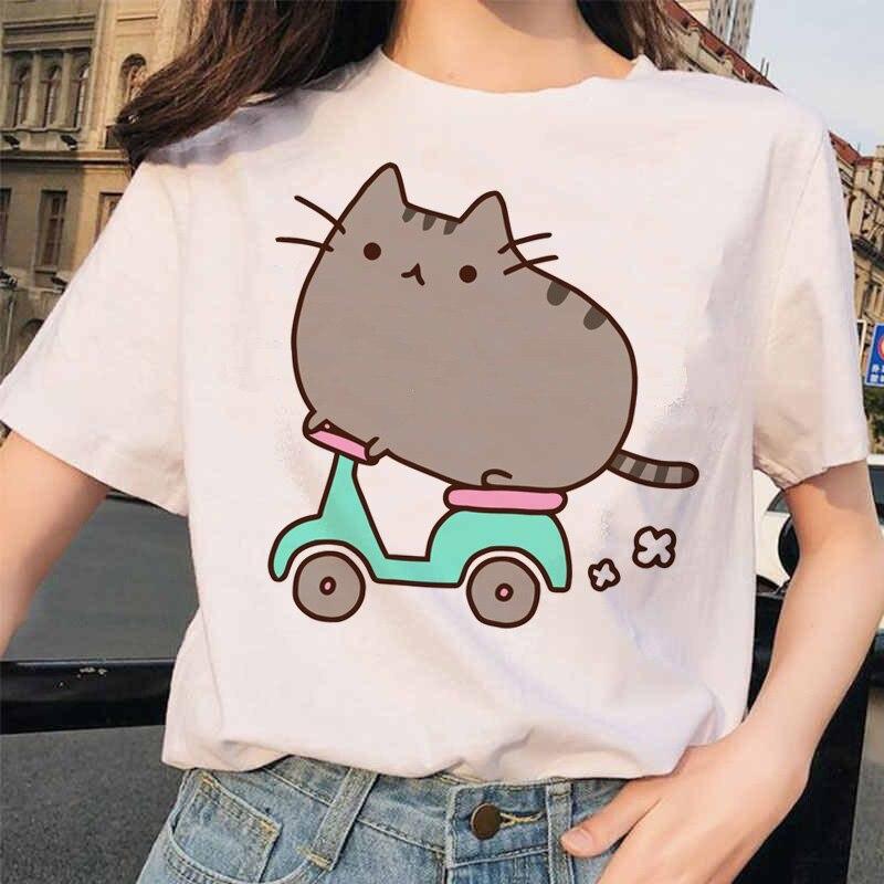 Pusheen Cat T Shirts Women Funny Graphic Cartoon Fashion Kawaii T-shirt Female Ullzang Cute 90s Korean Tshirt Top Tees Harajuku