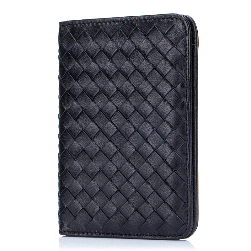 COMFORSKIN Brand Designer Handmade Knitting Minimalist Passport Holder Cover Sheepskin Leather Credit Card Holders Wallet Purses in Card ID Holders from Luggage Bags