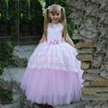 Прекрасный Розовый Принцесса Цветочница Платье 2017 С Бантом первое причастие платья для девочек детские вечерние платья платье de daminha