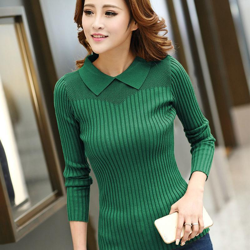 Knitted Sweater Autumn Winter Women Sweaters and Pullovers Peter Pan Hollow  Out Solid Sudaderas Sueter-in Pullovers from Women s Clothing on  Aliexpress.com ... b294691b0
