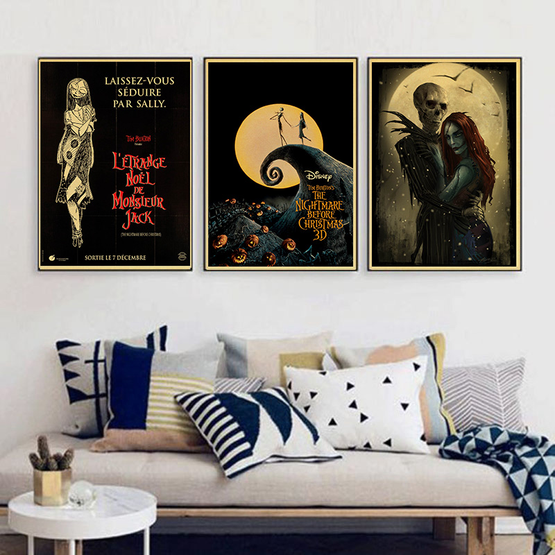 Cartoon Anime The Nightmare Before Christmas Vintage Paper Poster Wall Painting Home Decoration 42X30 CM 30X21 CM