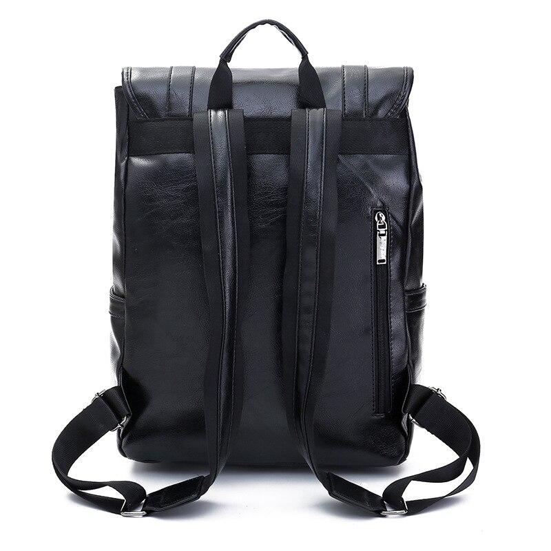 Роскошный кожаный деловой черный мужской рюкзак для ноутбука, мужские школьные рюкзаки для подростков, мужской рюкзак для ноутбука, мужска... - 3