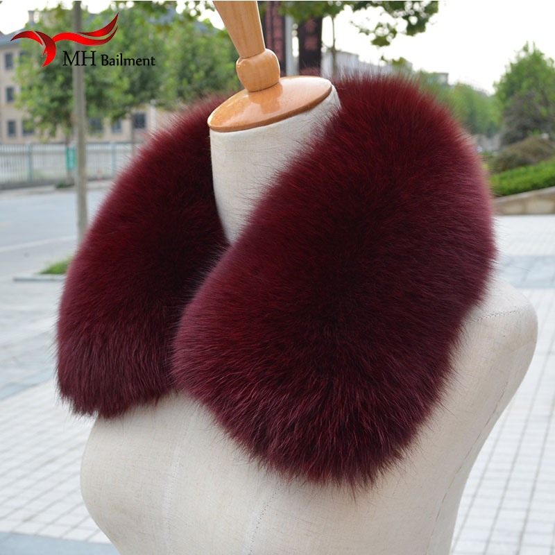 Genuine Fox Fur Collar Scarf with 100% Natural Fox Fur Scarf Winter Neck Warmer Jacke Fur Collar Short Scarves