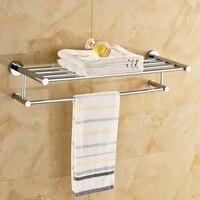 Luxury Chrome Wall Mounted Bath Towel Holder Shelf Towel Rack