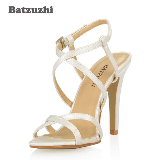 cfbdc5678 Batzuzhi Artesanal Feminino Sapatos de Salto Alto Sandalia Rasteira 10 cm  Sexy Elegante Fivela Sapatos Mulheres