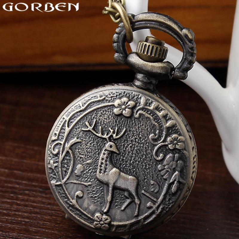 Butterfly Flower Women Pocket Watch With Necklace Chain Flip Hollow Bronze Case Quartz Small Pocket Watches Ladies Pendant Clock