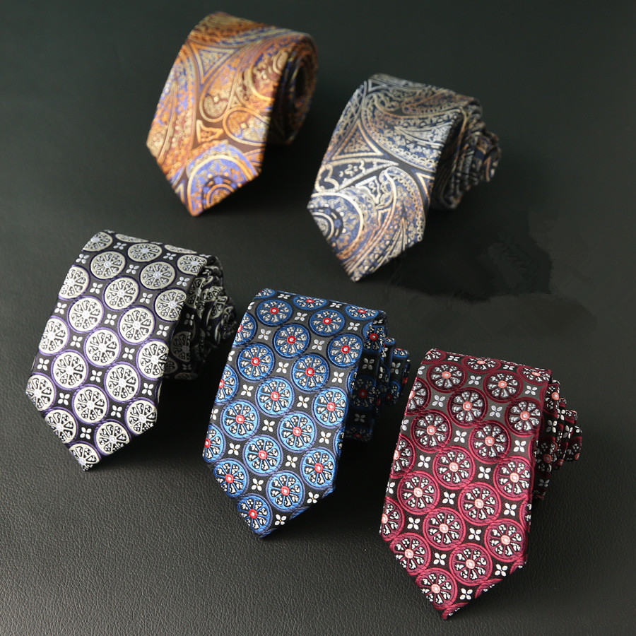 New Silk Tie For Man Jacquard Woven 7cm Fashion Floral Flower Pasiley Business Wedding Party Ties Cravat Neckties
