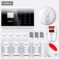 KERUI 433 МГц беспроводной PSTN GSM домашний дом офис защита от взлома системы безопасности с пожарной дыма детектор природного газа