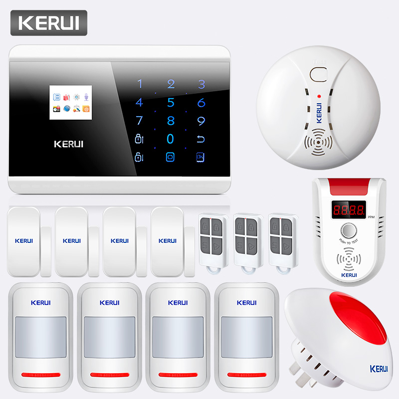 KERUI 433Mhz Wireless PSTN GSM Home House Office Burglar Alarm Systems Security With Fire Smoke Natural Gas DetectorKERUI 433Mhz Wireless PSTN GSM Home House Office Burglar Alarm Systems Security With Fire Smoke Natural Gas Detector