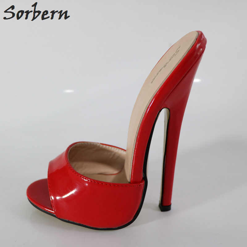 ... Sorbern Sexy Red 18Cm High Heels Open Toe Custom Colors Ultra Stilettos Summer  Shoes Ladies Sandals ... ef9365602a1e
