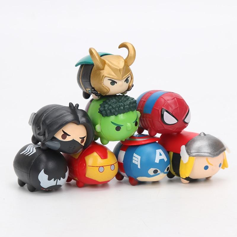 3.5*2cm 8pcs Marvel Toys Tsum Tsum The Avengers 3 Infinity War Spiderman Ironman Hulk Venom Thor Action Figure Set Model Dolls #2