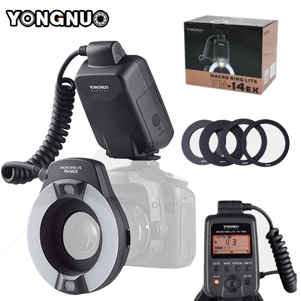 YONGNUO YN-14EX YN14ex With Adapter Ring TTL LED Macro Ring Flash Speedlite For Canon 5Ds 5Dsr 760D 5D Mark III 70D 700D 650D yongnuo yn 14ex ttl macro ring flash light with 4 adapters yn14ex speelite for canon 5d mark ii 5d mark iii 6d 7d 60d 70d 700d