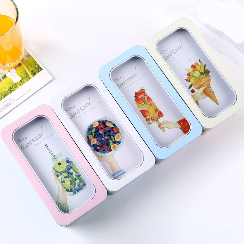 Tin plate summer ice cream fruit big window double-layer Pencil Case Cute School Supplies Stationery Gift Pencil Box Pencilcase fruit print pencil case
