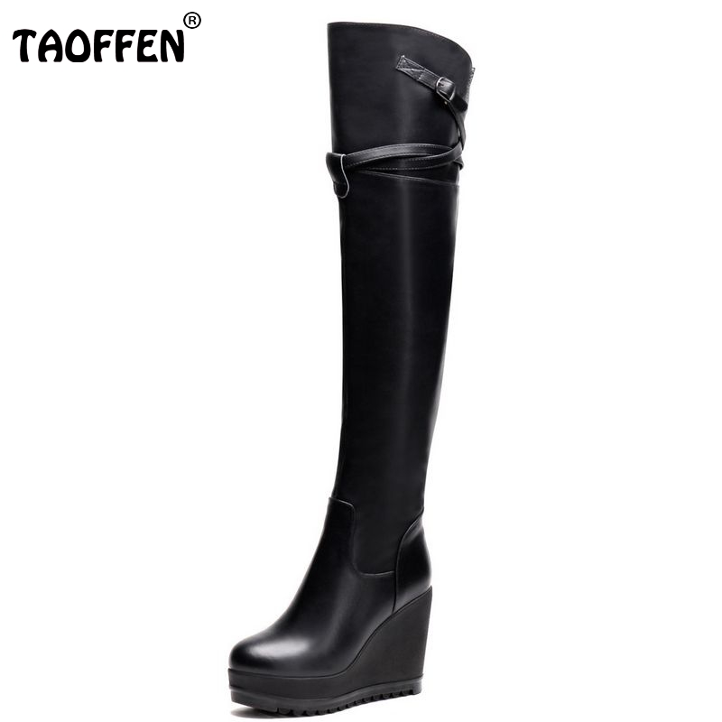 women real genuine leather wedge over knee boots platform long boot winter warm botas masculina footwear shoes R7524 size 34-39